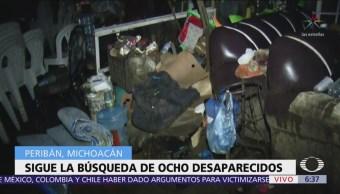 Buscan a 8 desaparecidos por tromba en Peribán