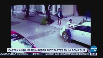 Video Pareja Robar Autopartes Roma Sur Cdmx