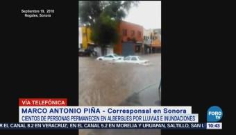 Cientos de personas en albergues por inundaciones en Sonora