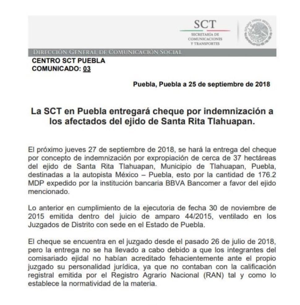Comunicado de la SCT respecto al pago de indemnizaciones