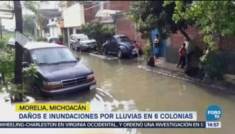 Daños e inundaciones en 6 colonias de Morelia, Michoacán