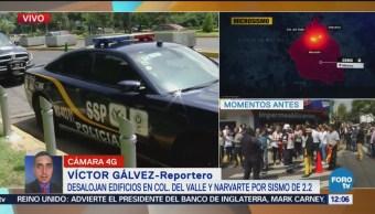 Desalojan edificios en colonia Del Valle y Narvarte sismo