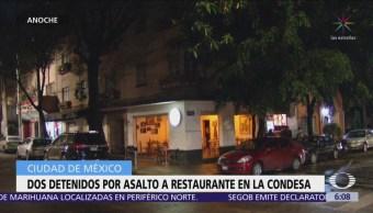 Detienen a dos presuntos asaltantes de un restaurante bar