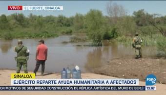 Ejército mexicano reparte ayuda humanitaria a damnificados