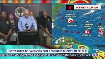 Emiten orden de evacuación para ocho condados de Carolina del Sur