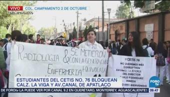 Estudiantes del Cetis 76 bloquean calzada de La Viga