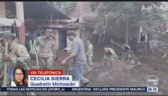 Evalúan Daños Lluvias Tromba Peribán Michoacán