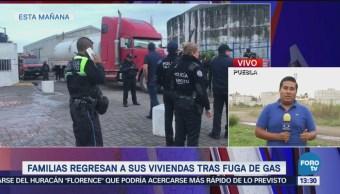 Familias regresan a sus viviendas tras fuga de gas en Puebla