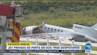 Jet privado se parte en dos tras despistarse Estados Unidos