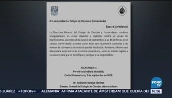 Condena Agresión A Estudiantes Dirección Cch Mediante Un Comunicado Unam explanada de Rectoría