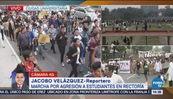Llegan Estudiantes Rectoría UNAM Manifestarse