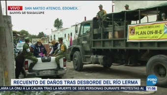 Lluvia complica trabajos de limpieza en San Mateo Atenco