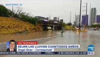 Lluvias cuantiosas en Monterrey dejan daños
