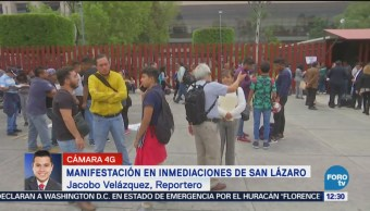 Manifestantes se retiran de inmediaciones del Congreso de la Unión, CDMX