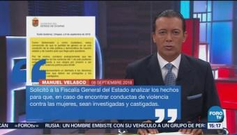 Manuel Velasco Pide Investigar Renuncia De Mujeres Cargos En Chiapas