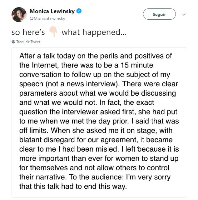 Mónica Lewinsky abordó el suceso en su cuenta de Twitter. (@MonicaLewinsky)
