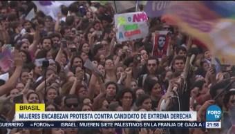 Mujeres Protestan Contra Candidato Extrema Derecha Brasil