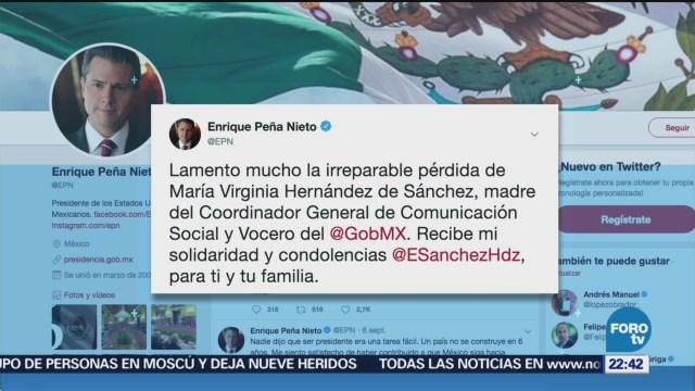 Peña Nieto Lamenta Fallecimiento Madre Eduardo Sánchez, Vocero Presidencial