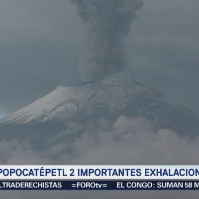 Popocatépetl emite 106 exhalaciones en las últimas 24 horas