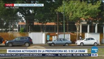 Preparatoria 5 de la UNAM reanuda actividades educativas