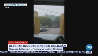Registran severas inundaciones en Culiacán, Sinaloa