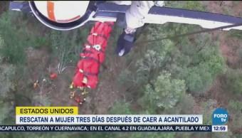 Rescatan a mujer tras caer a acantilado en California