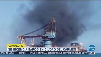 Incendia Barco Varado Ciudad Del Carmen