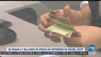 Se pagaron 2.7 billones de pesos en intereses de deuda SHCP