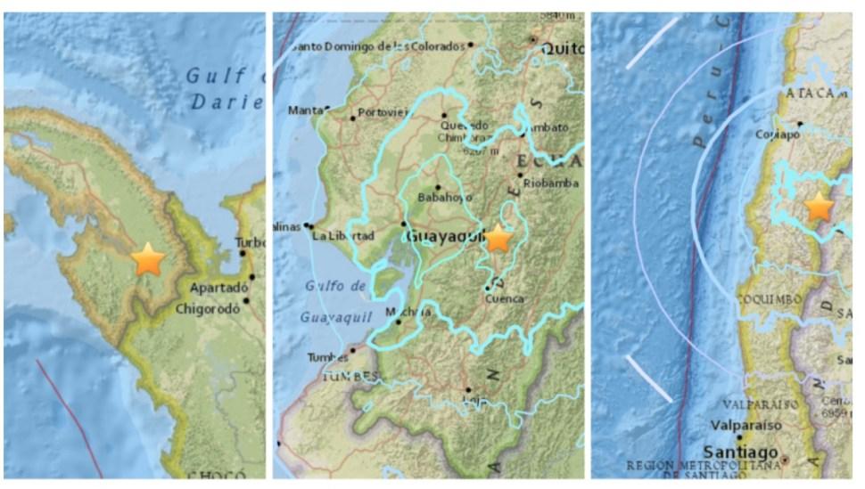 Sismos en cadena sacuden centro y Sudamérica en menos de una hora