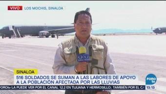 Soldados se suman a las labores de apoyo en Sinaloa