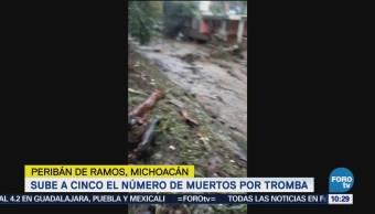 Sube a 5 el número de muertos por tromba en Michoacán
