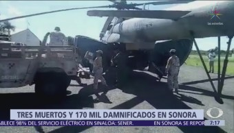 Suman 3 muertos en Sonora por la depresión tropical 19-E