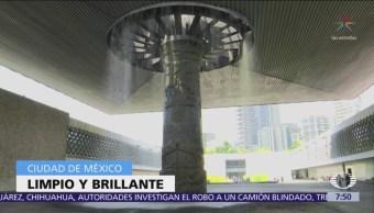 Termina mantenimiento del paraguas del Museo de Antropología