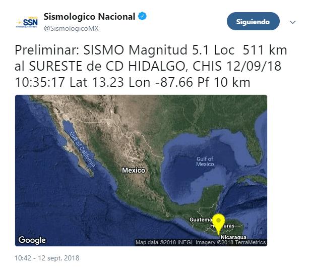 Sismo de magnitud 5.1 se registra en Ciudad Hidalgo, Chiapas