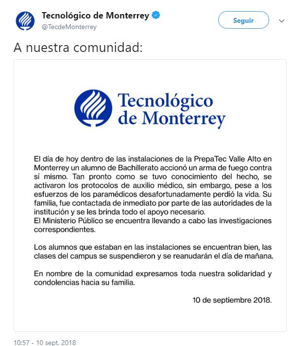 Estudiante se suicida en prepa del Tec de Monterrey, confirma la institución