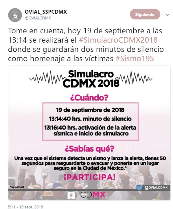 Alerta sísmica sí será activada para simulacro 19-S hoy