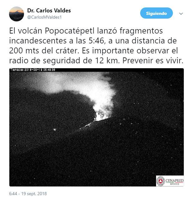 Volcán Popocatépetl lanza pedazos incandescentes