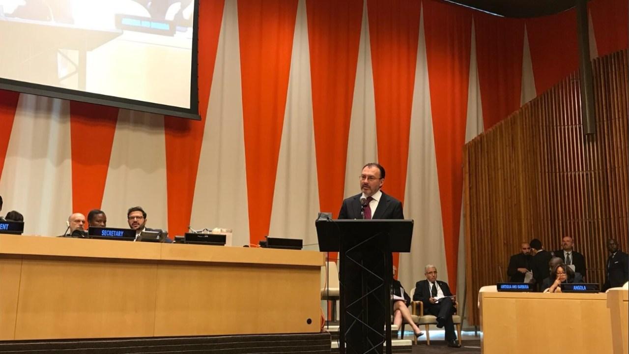 Videgaray pide en ONU que se cumplan compromisos sobre desarme nuclear