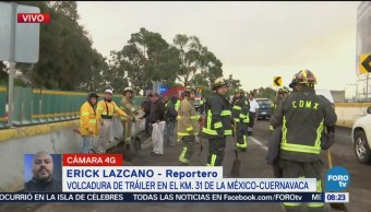 Vuelca tráiler en autopista México - Cuernavaca