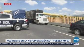Accidente afecta tránsito de la autopista México-Puebla