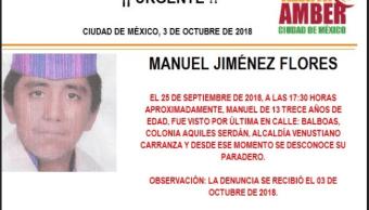 Activan Alerta Amber para localizar a Manuel Jiménez Flores. (@PGJDF_CDMX)