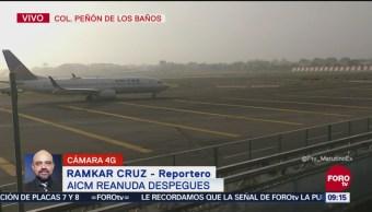 AICM reanuda despegues tras dispersarse banco de niebla