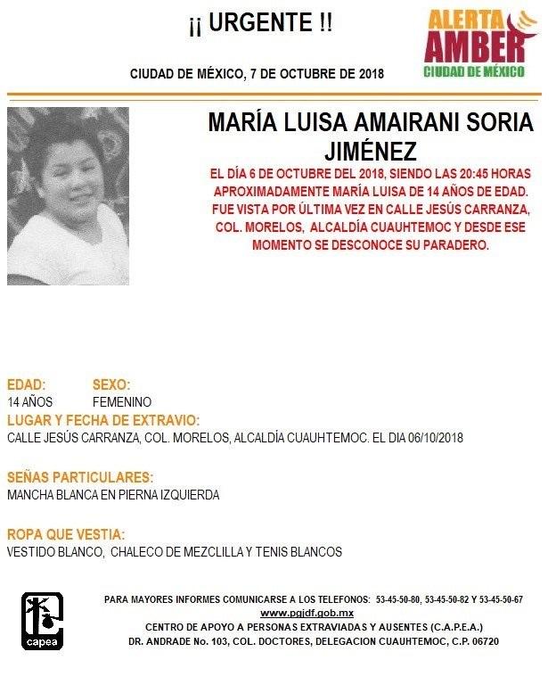 Alerta Ámber: Ayuda a localizar a María Luisa Amairani Soria Jiménez (Twitter @PGJDF_CDMX)