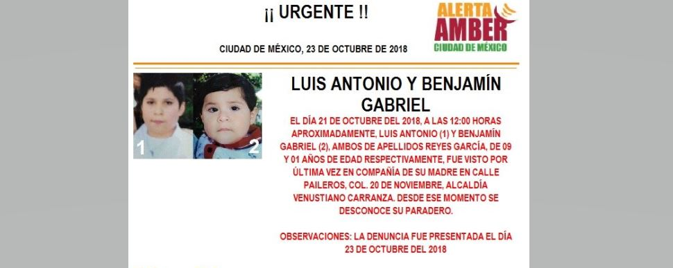 Alerta Amber Luis Antonio Reyes García y Benjamín Gabriel Reyes García