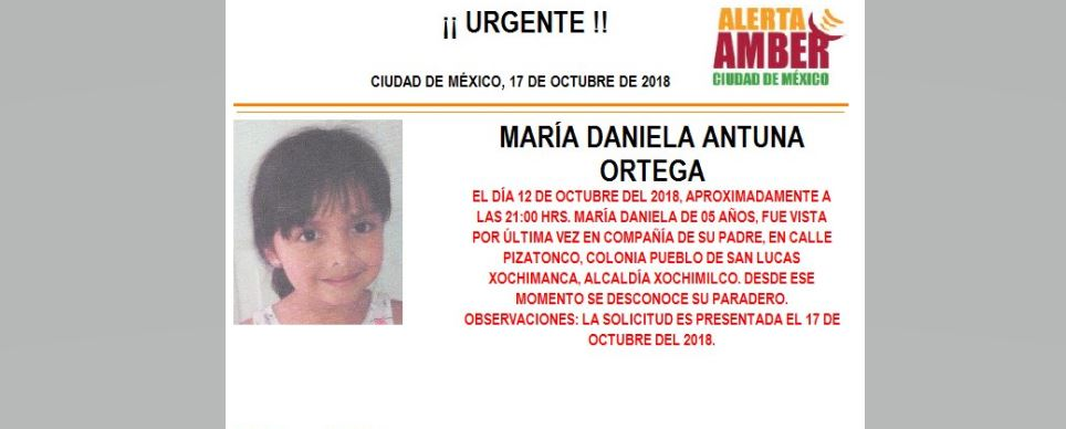 Alerta Amber para localizar a María Daniel