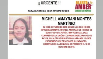Alerta Amber para localizar a Michell Amayrani Montes