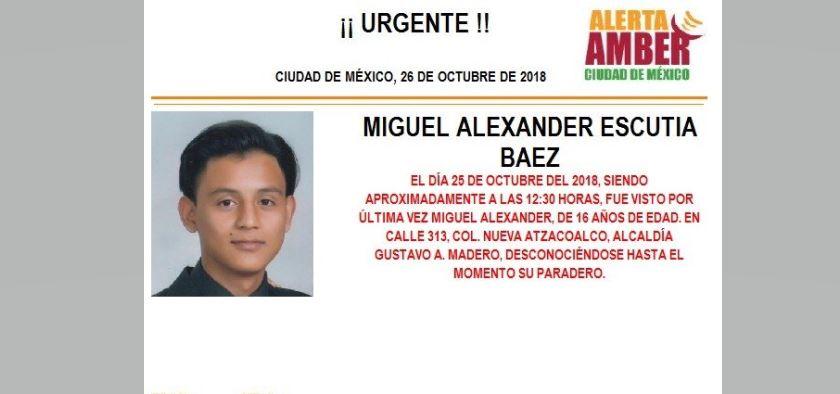 Alerta Amber para localizar a Miguel