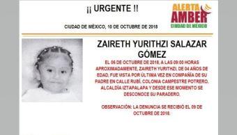 Alerta Amber para localizar a Zaireth Yurithzi