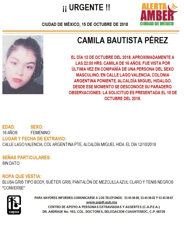 Piden ayuda para localizar a Camila Bautista Pérez
