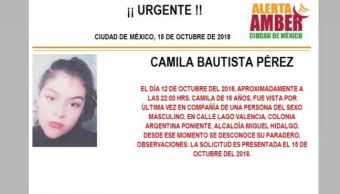 Alerta Amber: Ayuda para localizar a Camila Bautista Pérez